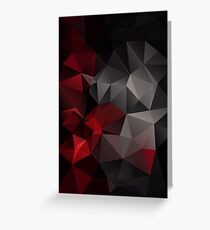 Abstract background of triangles polygon wallpaper in black red colors Greeting Card
