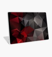Abstract background of triangles polygon wallpaper in black red colors Laptop Skin