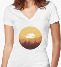 Sunny Forest Landscape Women's Fitted V-Neck T-Shirt