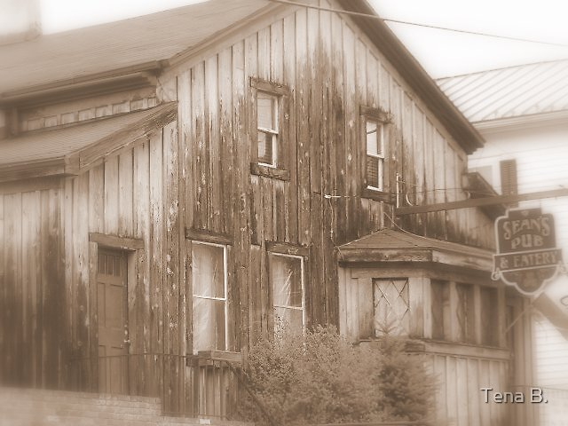 Pub and eatery sepia by Tena B.