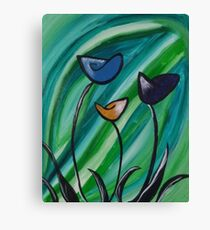 Abstract Green Hues Flowers Canvas Print
