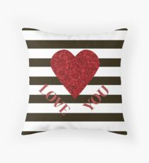LOVE YOU Valentine Red glitter heart and black stripes for sweetheart. Valentine's Day. Valentine's day shiny with sparkles. Throw Pillow