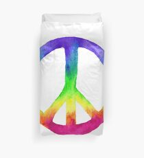 Watercolor Rainbow Tie Dye Peace Sign Duvet Cover