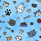 Kitty Pattern (Blue) by beefgnawpolis