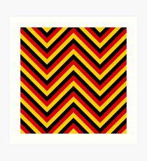 Yellow Red and Black German Flag Colors Jumbo Chevron Pattern Art Print