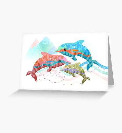 Camouflage Dolphins Greeting Card