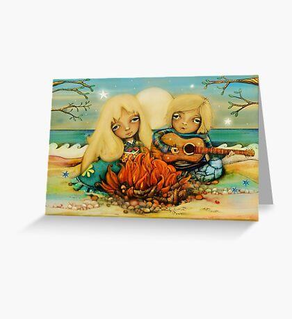 beach campfire Greeting Card