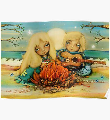 beach campfire Poster