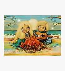 beach campfire Photographic Print