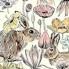 rabbits and flowers colored version  by ColorandColor