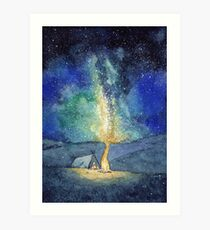 Watercolor Night Sky Art Print