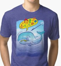 Wild whale saying bad words while fleeing a harpoon Tri-blend T-Shirt