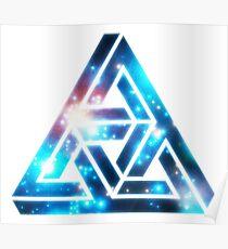 Impossible Triangle, Optical Illusion, Mathematics, Escher Poster