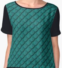 Elegant Teal Dragon Scale Women's Chiffon Top