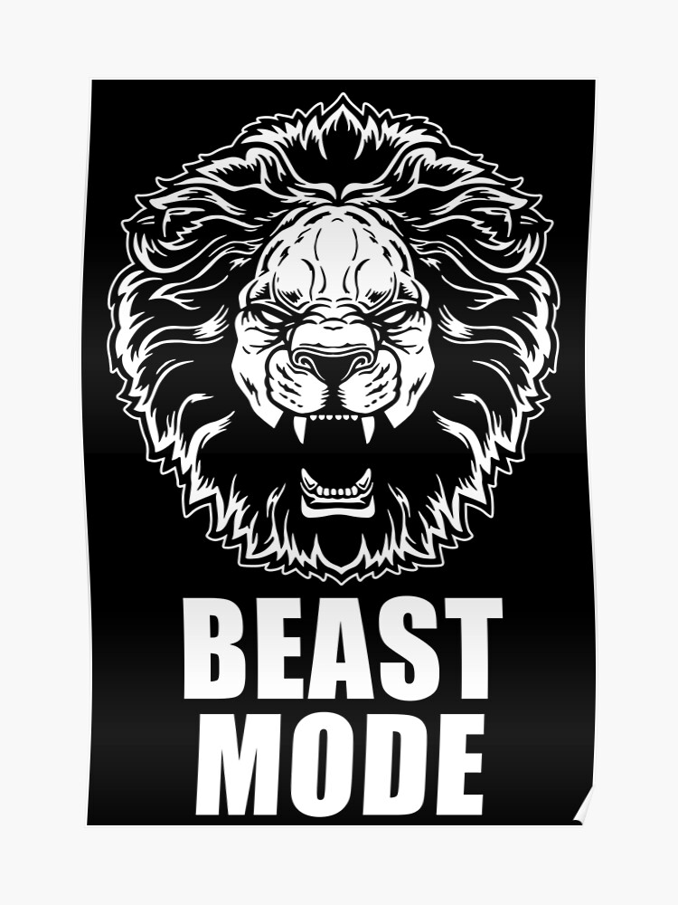 Beast Mode Gym Fitness Lion Poster