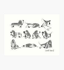 Basset hound lovers Art Print