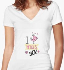 I miss you, funny doodle picture Women's Fitted V-Neck T-Shirt