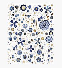 Indigo Flower Mashup Photographic Print