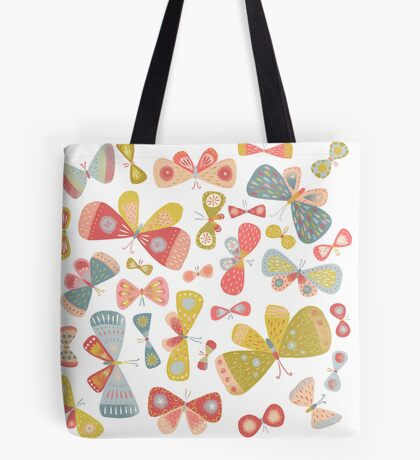 Butterfly Tango on White Tote Bag