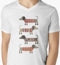 Camiseta para hombre de cuello en v Perros salchicha en suéteres