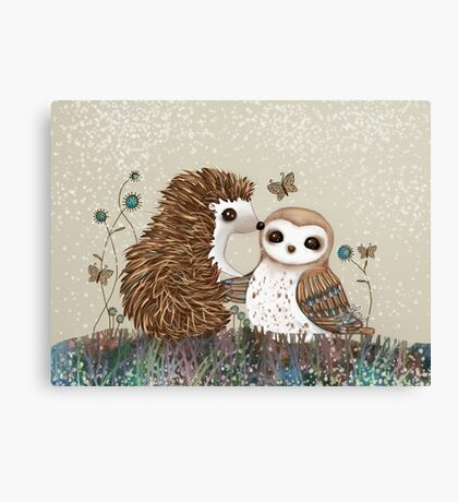 Owl and Hedgehog Canvas Print