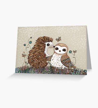 Owl and Hedgehog Greeting Card
