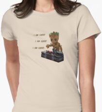 Baby Groot Death Button Womens Fitted T-Shirt