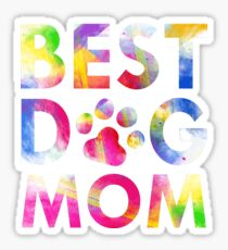 Best Dog Mom Attractive Watercolor Paint Art Paws Sticker