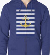 Yellow Anchor Zipped Hoodie