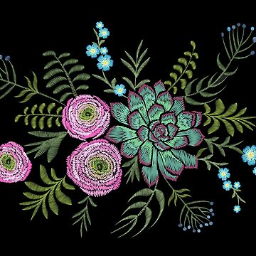 Embroidery succulent ranunculus flowers by LuckyStep