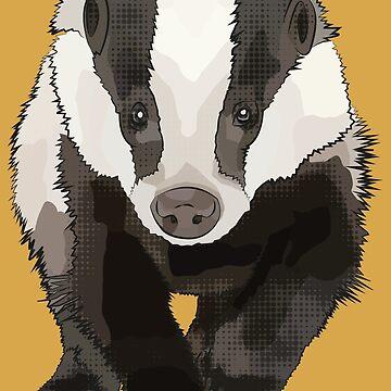 Badger Walking Towards You - AKA Bartholomew Brock by BeeFoxTree
