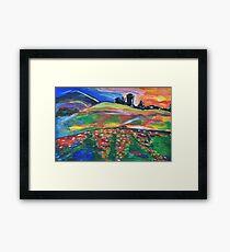 Watercolor background - nuture and landscape Framed Print