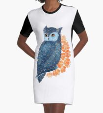Blossoming owl Graphic T-Shirt Dress