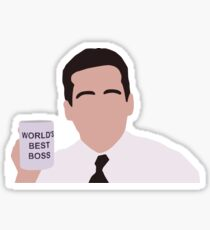 Michael Scott Minimal - World's Best Boss  Sticker