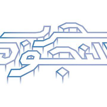 War in the Stars Arabic - Retro Vector Arcade Logo (Starfield) by FFaruq