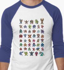 MegaMan 1to6 Robot Masters Men's Baseball ¾ T-Shirt