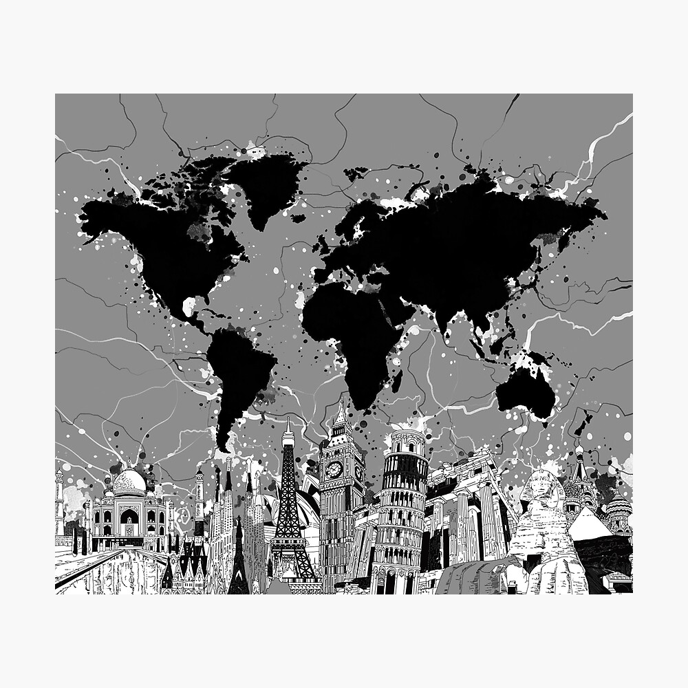 mapa del mundo Lámina fotográfica
