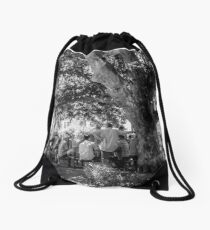 The afternoon gathering Drawstring Bag