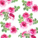 Raspberry Pink Painted Roses on White by micklyn