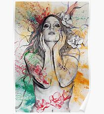 The Withering Spring (magnolia flower girl, erotic nude portrait) Poster