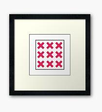 Minimal Neon Pink Cross Square Framed Print