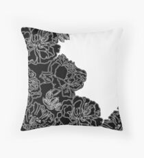 FLORAL IN BLACK AND WHITE Throw Pillow