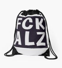 FCK ALZ in Grey (Dark Background) Drawstring Bag