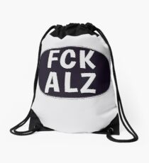 FCK ALZ Oval in Grey (Dark Background) Drawstring Bag