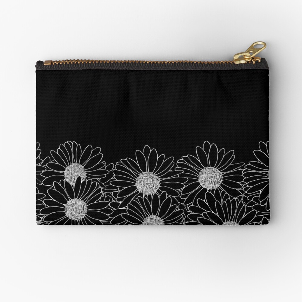 Daisy Boarder Black Zipper Pouch