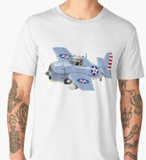Cartoon Retro Fighter Plane Men's Premium T-Shirt