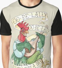 Alan-A-Dale Rooster : OO-De-Lally Golly What A Day Tattoo Watercolor Painting Graphic T-Shirt