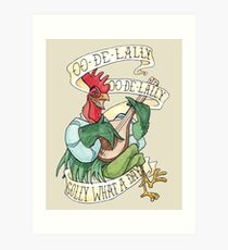 Alan-A-Dale Rooster : OO-De-Lally Golly What A Day Tattoo Watercolor Painting Robin Hood Art Print