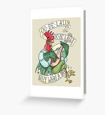 Alan-A-Dale Rooster : OO-De-Lally Golly What A Day Tattoo Watercolor Painting Greeting Card