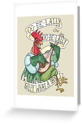 Alan-A-Dale Rooster : OO-De-Lally Golly What A Day Tattoo Watercolor Painting Robin Hood by Christina G. Smith